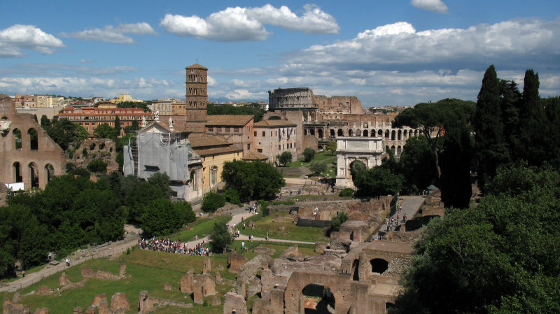 Overview of the eastern end of the Forum