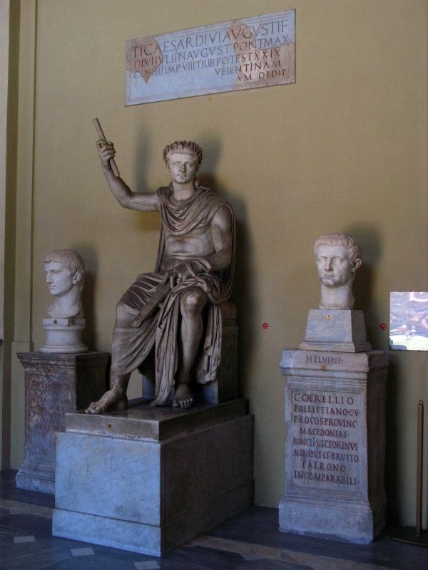 Statue of Augustus and flanking busts