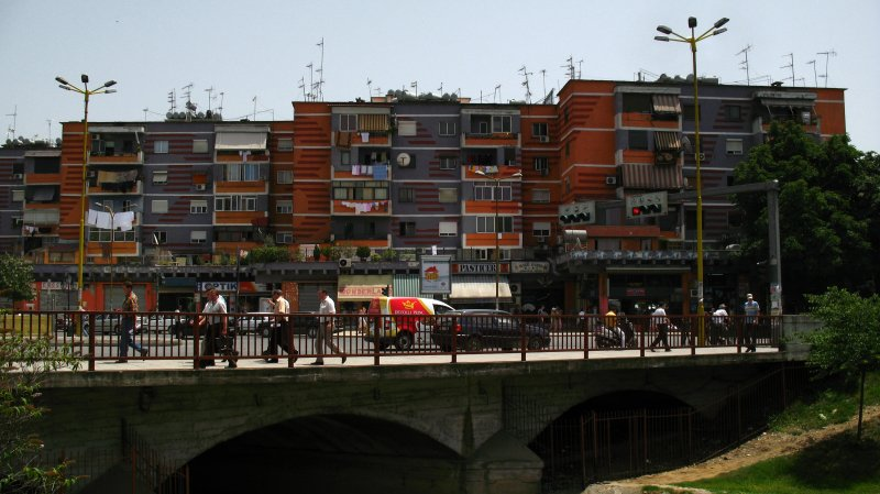 Painted housing blocks along the Lana River