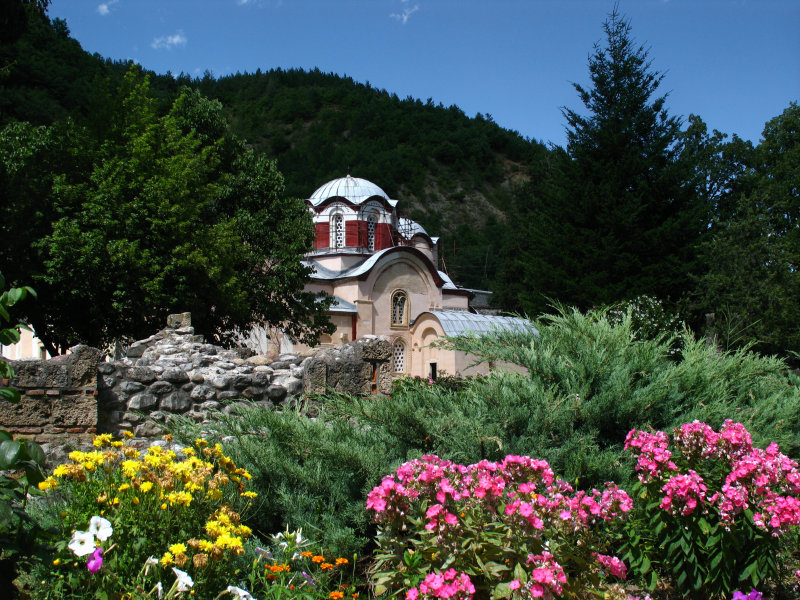 Flowers in the garden of the Peć Patriarchate