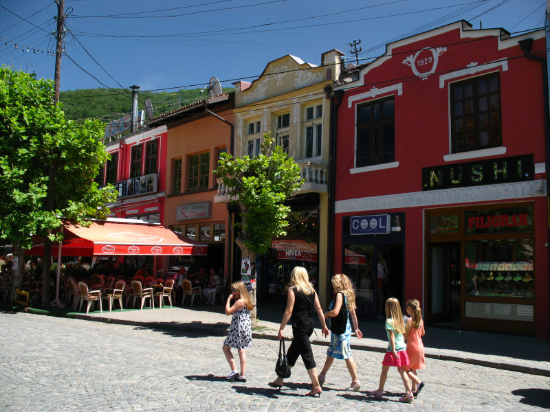 Local girls walking through central Prizren