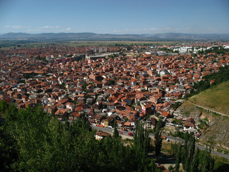 Sprawl of Prizrens red-roofed suburbs