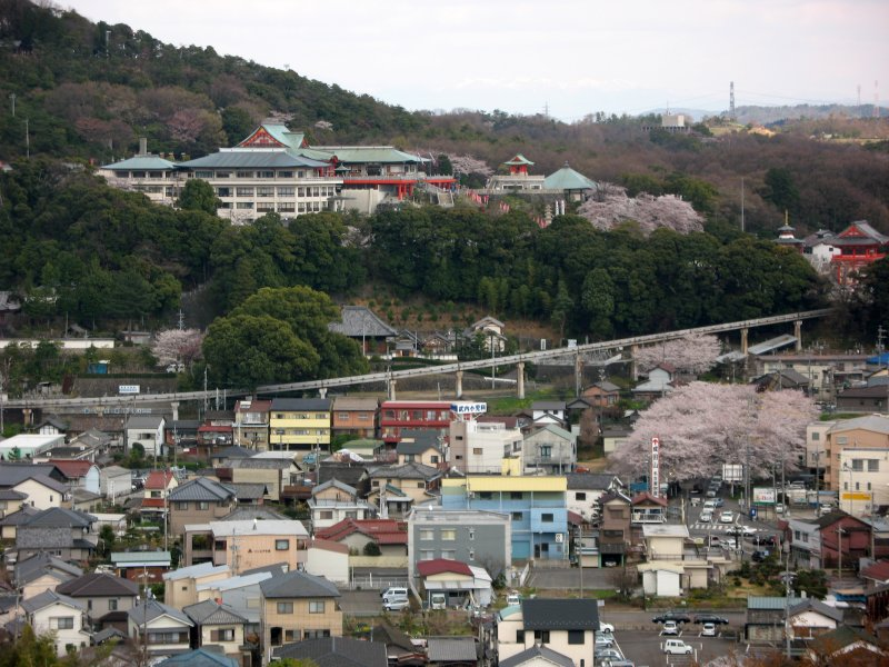 Narita-san temple on the far hill
