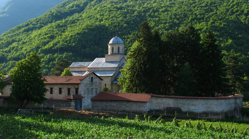 Visoki Dečani Monastery in its rural valley