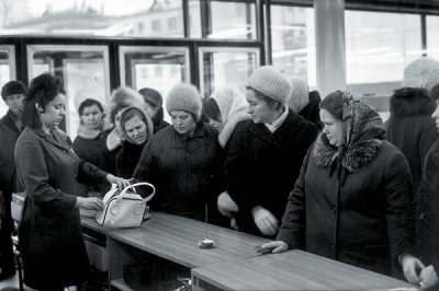 At store, Arbat, Moscow, USSR, 1972