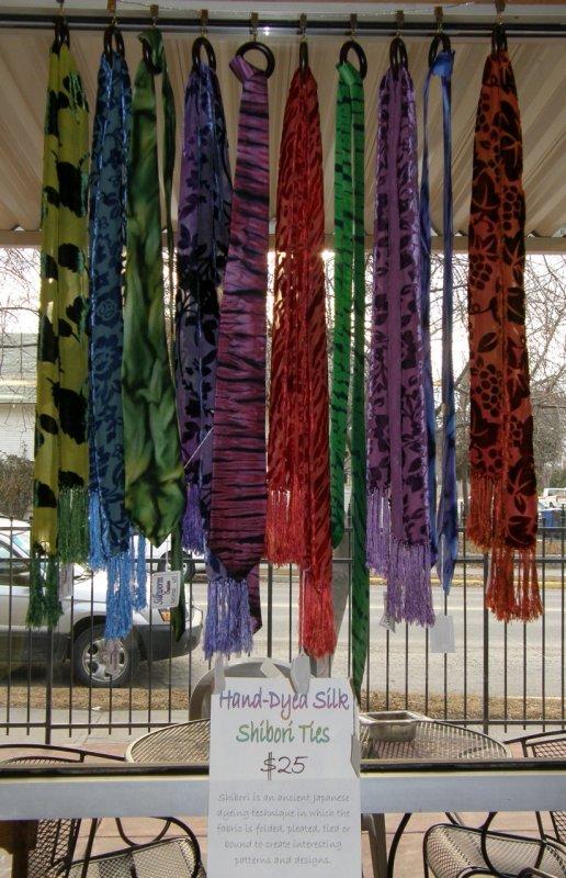 Shibori Ties at College Market P1300013.jpg