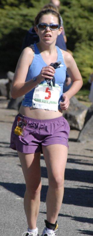 Rachel Dowling of Philadelphia running the Pocatello Marathon - nearing Finish Line smallfile _DSC0491.jpg