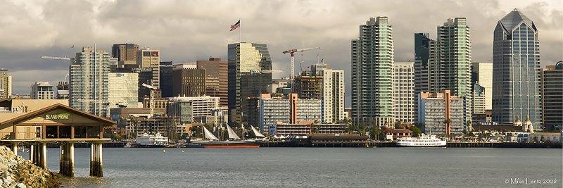 San Diego city skyline pano