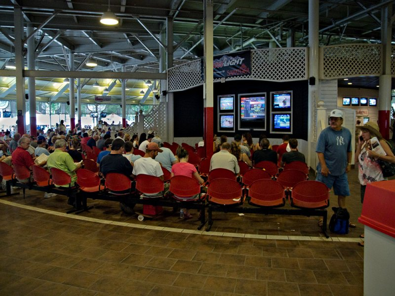 Watching the races inside - Saratoga Race Track