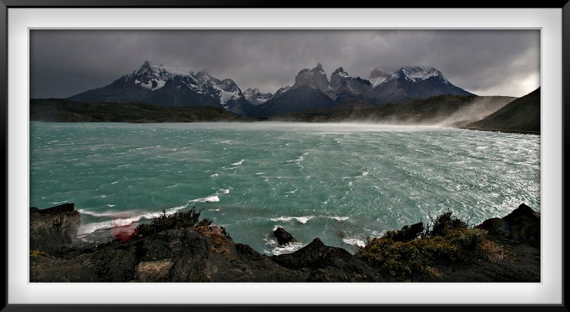 Patagonia: Windy Lake Pehoe and Cuernos del Paine