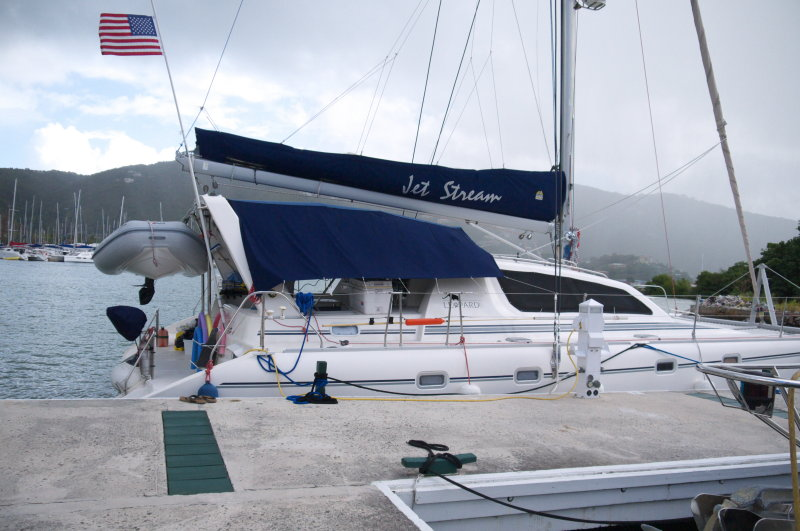 Our 45ft Leopard catamaran Jet Stearm  at the dock