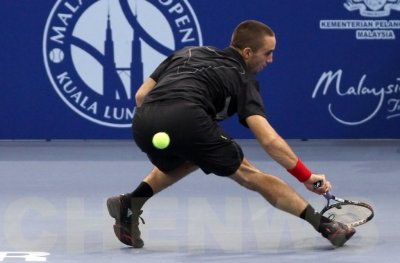 Viktor Troicki (Serbia) in action at the ATP Malaysia Open 2011.