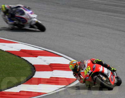 Valentino Rossi takes turn 1 during the qualifying session of the Malaysian Motocycle GP 2011