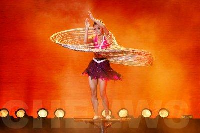 Hoops swaying in a performance by Shanghai acrobat