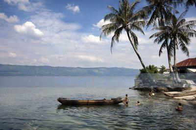 Children playing, Lake Singkarak