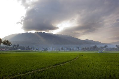 Sun setting behind the hills, West Sumatera