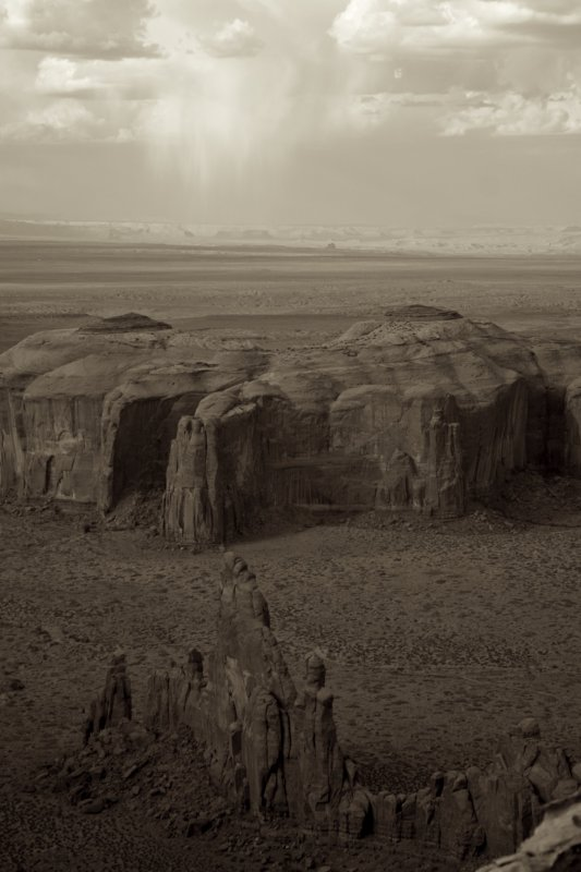 View of Monument Valley from Hunts Mesa sepia tone