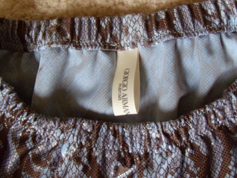 Brown-Blue Snake Waistband & Fabric Close-Up