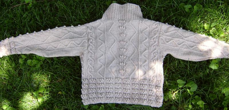 Cable Bobble Sweater Back