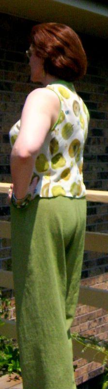 Side View of Lime Pants & Apple Print Top