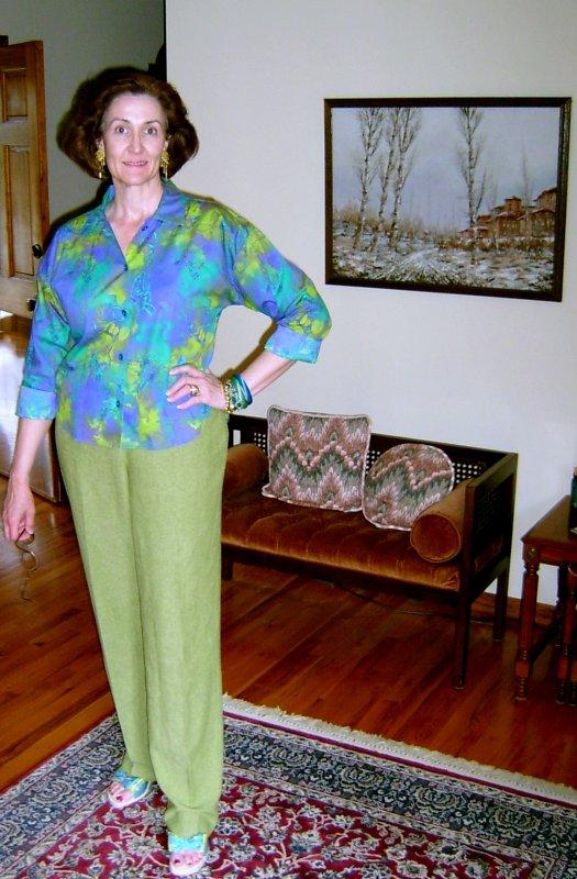 Lime Double Burda Pants & Marble Botanical Campshirt