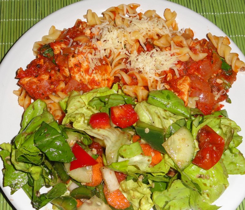 Rice Pasta with Chicken & Salad