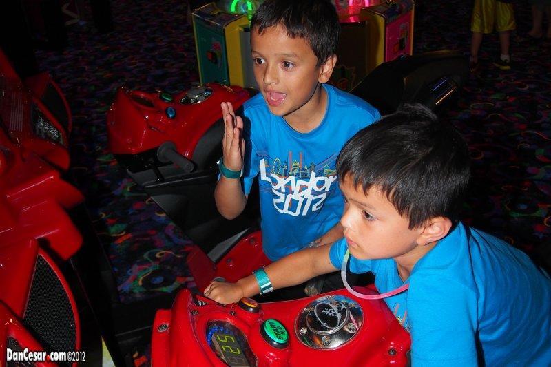 Enjoying arcade games at Wildwood