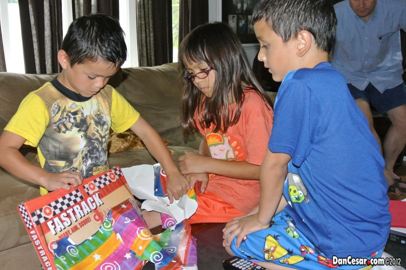 Unwrapping birthday gifts