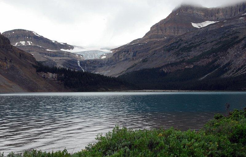 Bow Lake and Wapta Icefield Glacier Near Num-Ti-Jah Lodge