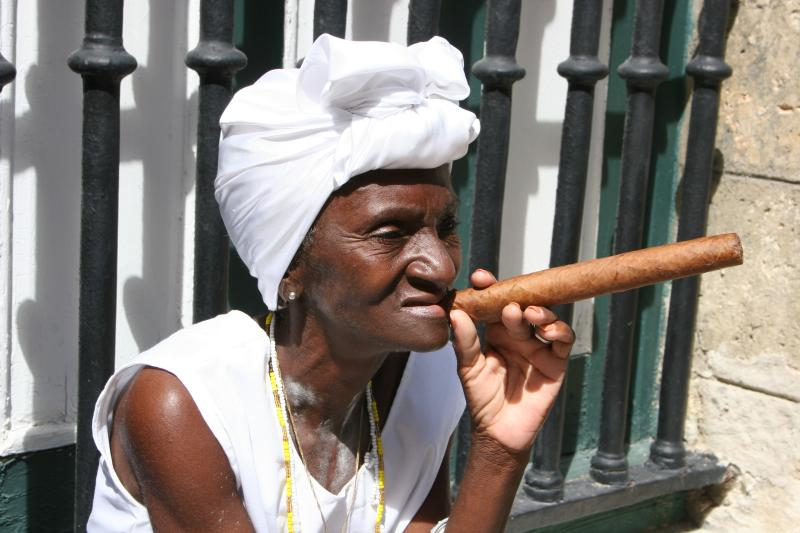 cuban woman with a cigar