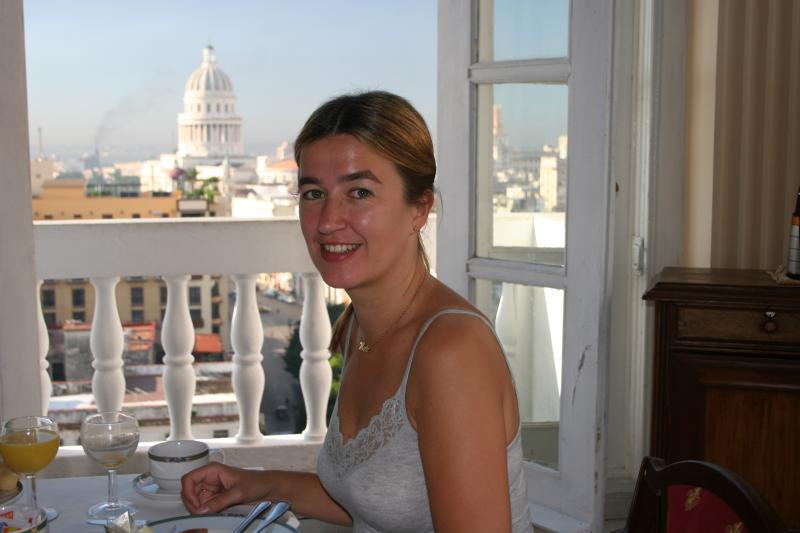 breakfast in hotel Sevilla with Capitolio in background