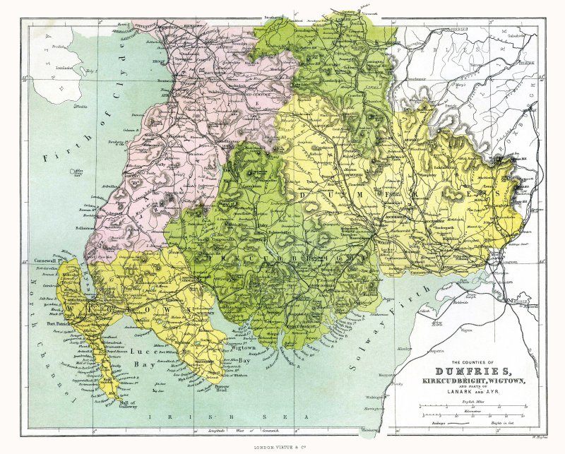 MAP - 1862 - Counties of Dumfries, Kirkcudbright, and Wigtown,  SCOTLAND.  Map provided by Clifford A. Johnston