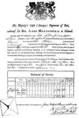 John MacQueen - Discharge Paper - October 29, 1814