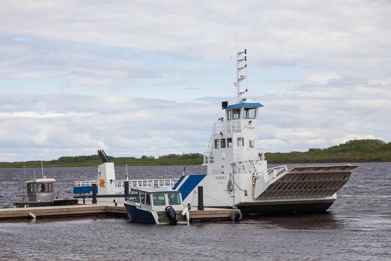 Barge Niska I docked at Moosonee.