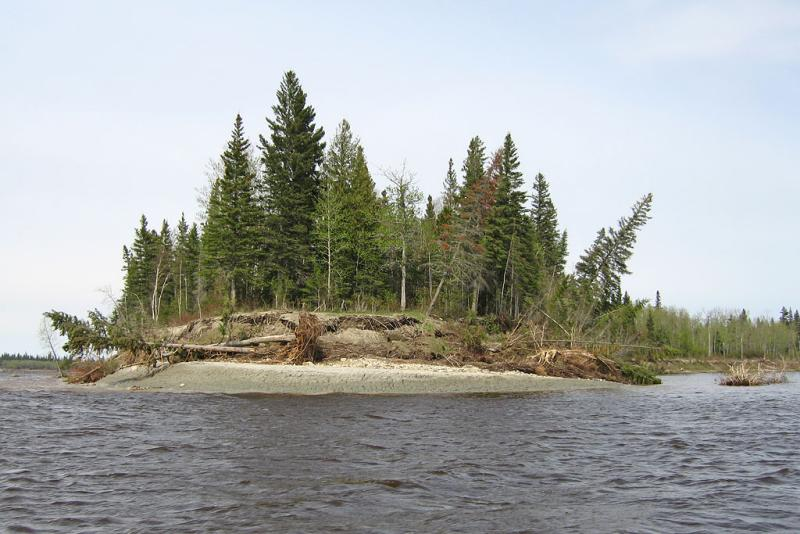 End of Charles Island showing impact of ice