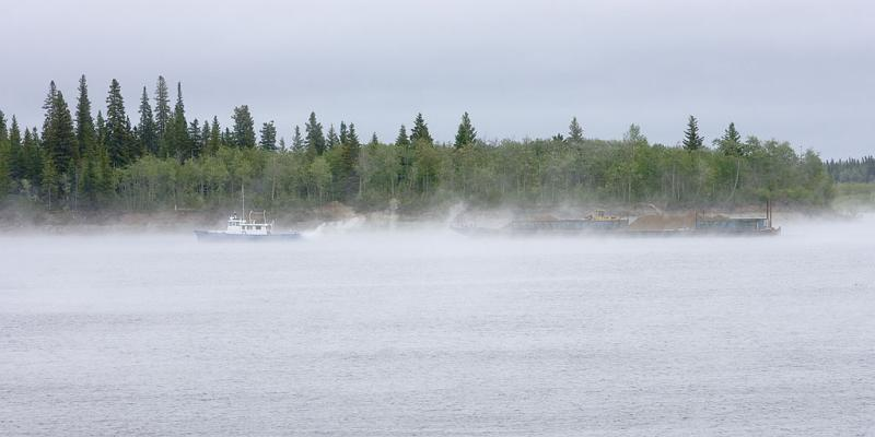 Tug and barge in fog June 8, 2006