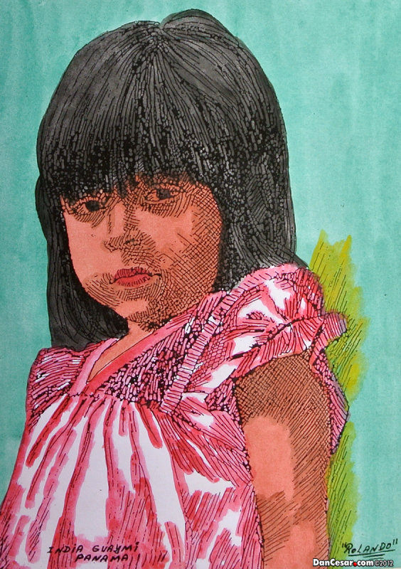 Painting of indigenous girl