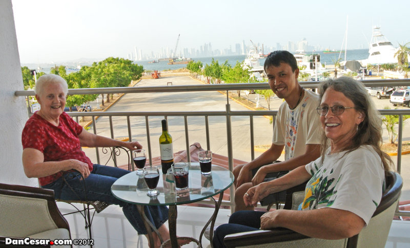 Wine on the balcony of Amador Ocean View Hotel