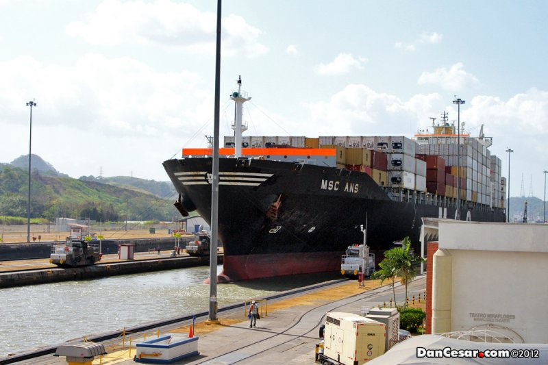 Ship passing through Miraflores Locks of the Panama Canal
