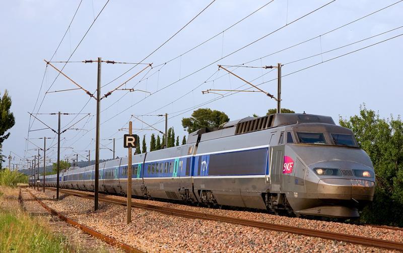 A double units of TGV Sud-Est near Sollies-Pont.