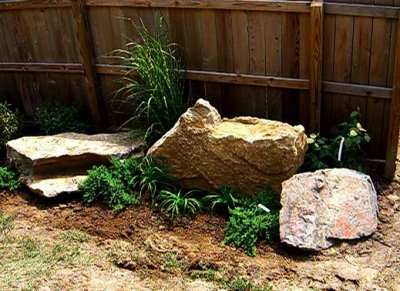 Backyard: Three rocks