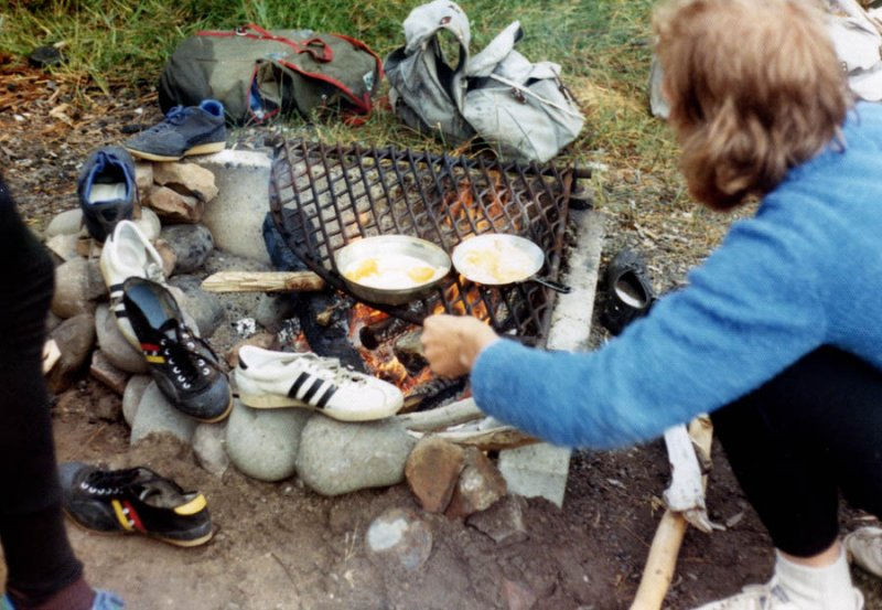 Fried eggs and wet shoes