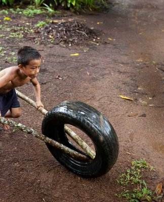 Using an old tire as a toy. IMG_3723.jpg