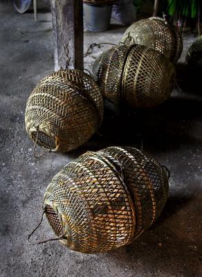 Bamboo barrels.