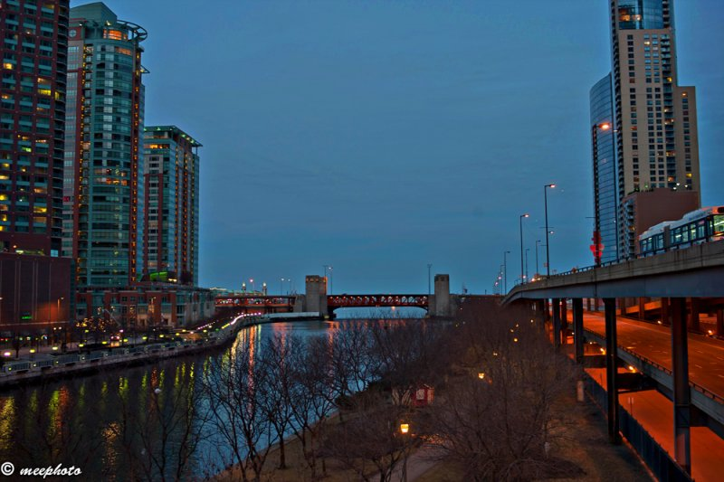 Nightfall, Chicago River