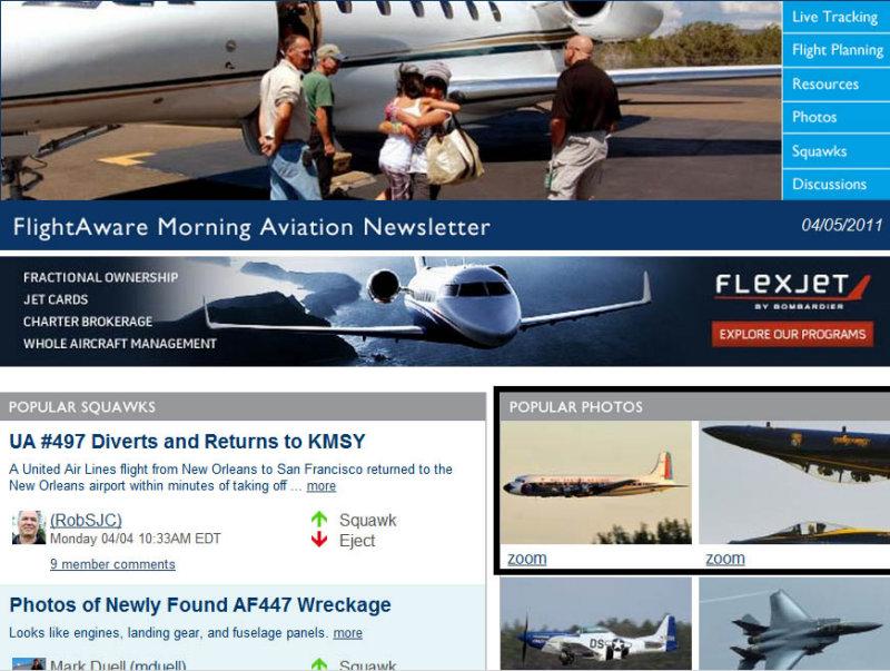 2011 - restored Eastern DC-7B N836D and Blue Angels photos on FlightAwares Morning Aviation Newsletter
