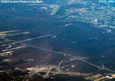 2005 - Grumman Peconic River Airport (Calverton) at the top, Francis S. Gabreski Airport at the bottom aerial stock photo #7274