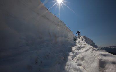 Downclimbing Through A Bergschrund On Table Mountain <br>(TableMt_081212-41-3.jpg)