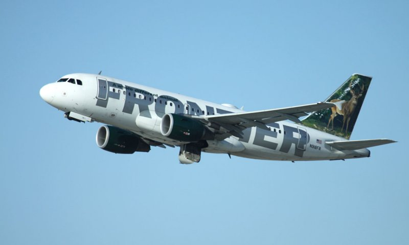 Frontier A-319 taking off from LAX, Feb, 2011