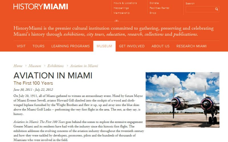 AVIATION IN MIAMI - The First 100 Years Exhibit - a previous exhibit at HistoryMiami